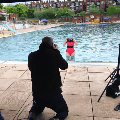 Behind the scenes at Deakin and Blue supportive fitness swimwear shoot