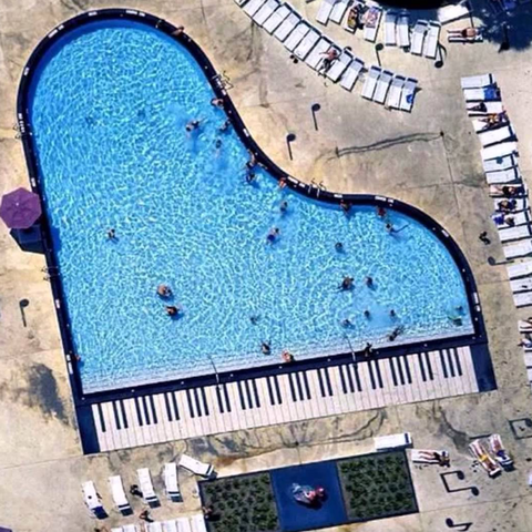 Deakin and Blue Swimming Pool Piano