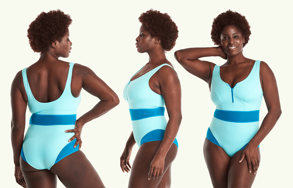 Deakin and Blue women's swimsuit in light blue