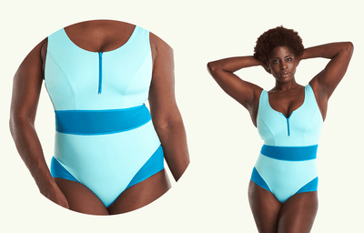 Round Neck Swimsuit Mint Blue - Hendricks