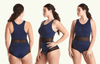 High Neck Swimsuit Navy - Monroe