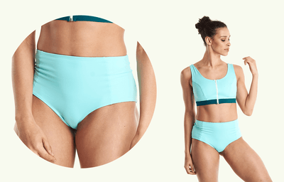Swimcrop High Waister Set Mint Blue & Teal - Hepburn