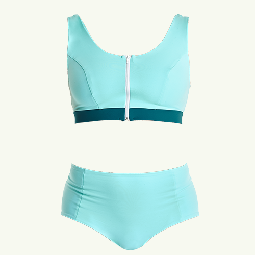 Swimcrop High Waister Set Mint Blue & Teal - Monroe