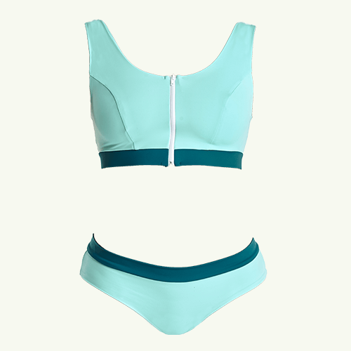 Swimcrop Bikini Set Mint Blue & Teal - Hepburn