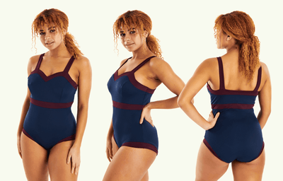 Sweetheart Swimsuit Navy & Plum - Monroe