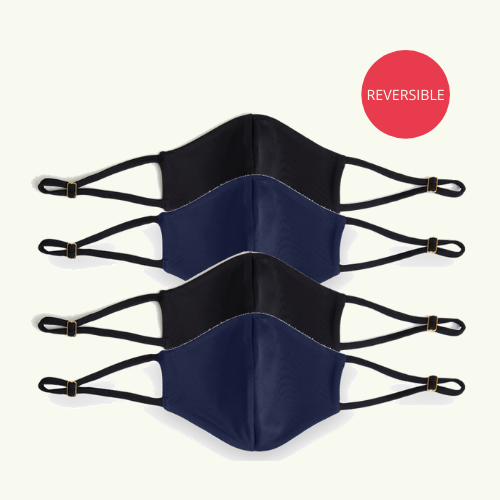 Reusable & Reversible Face Mask - Pack of 4 Navy & Black