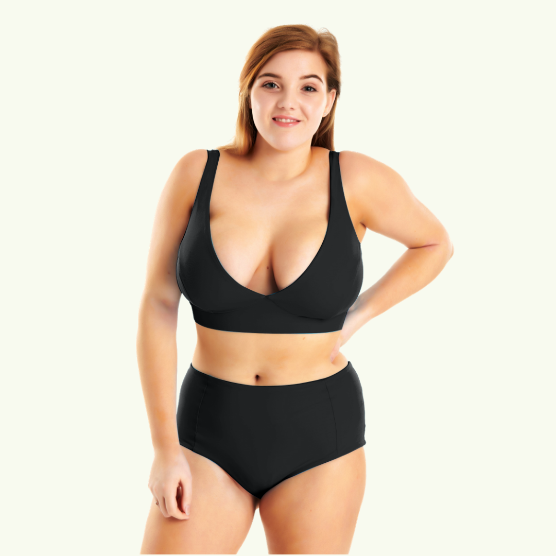 Plunge High Waister Bikini Black - Hendricks