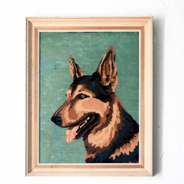 Oddhaus Vintage Decoration Luxembourg Cross stitched embroidery dog canvas
