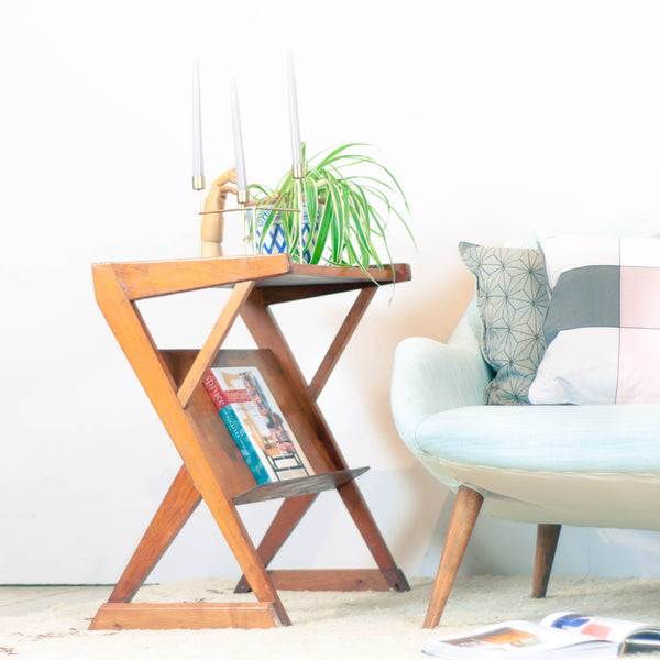Vintage 50s Wood Geometric Side Table / Magazine Table