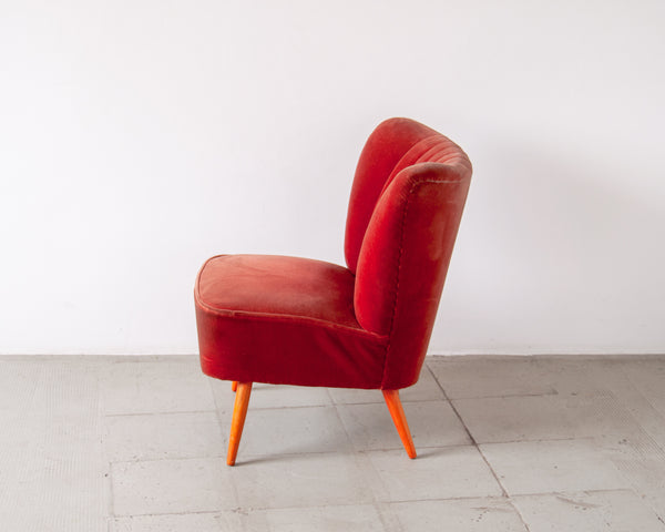 Coral Velvet Cocktail Chair