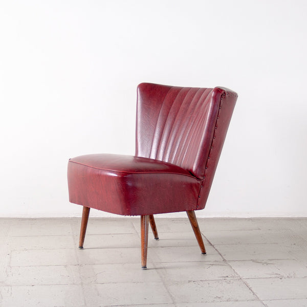 Burgundy Vinyl Cocktail Chair