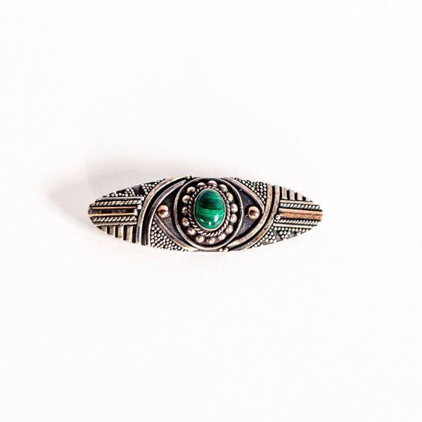 Silver and Malachite Art Deco Brooch