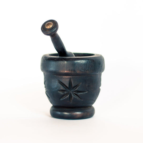 Black Wood Mortar and Pestle