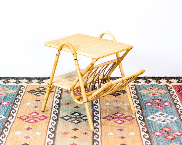 Vintage Rattan Side Table/ Magazine Table