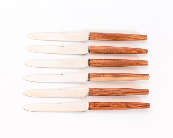 Mid-century Olive Wood Thiers Knife Set