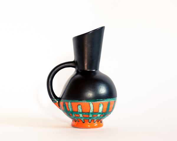West Germany Black Orange and Green Vase