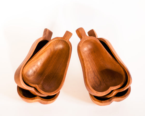 § Mid-century Teak Pear Bowls - Set of 6