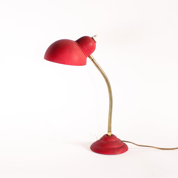 Red and Gold Industrial Desk Lamp