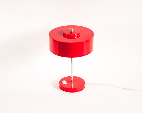 1970's Industrial Red Desk Lamp