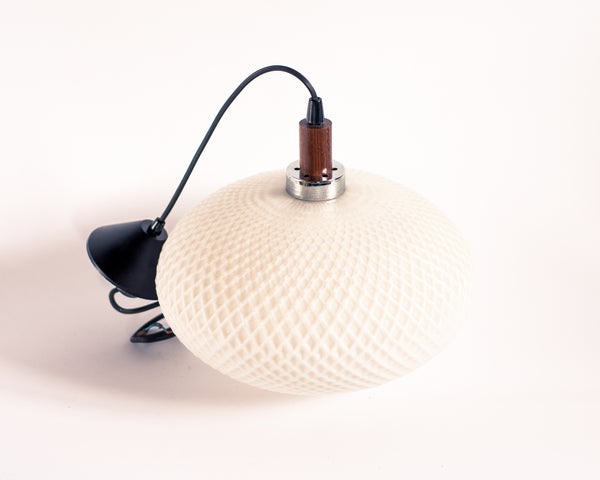§ Mid-century Scandinavian Opaline Glass and Wood Pendant Lamp