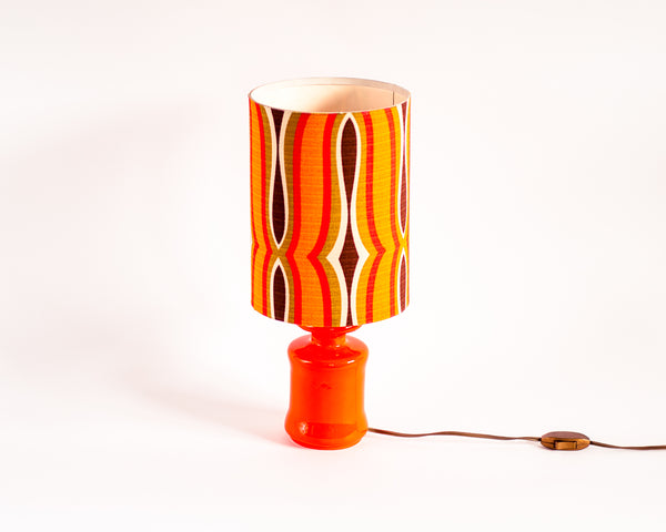 70s Geometric Retro Pop Orange Table Lamp