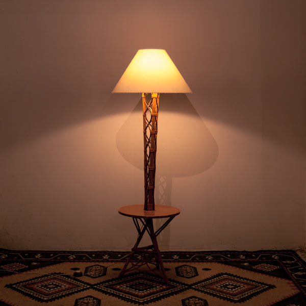 Rattan Floor Lamp with Table