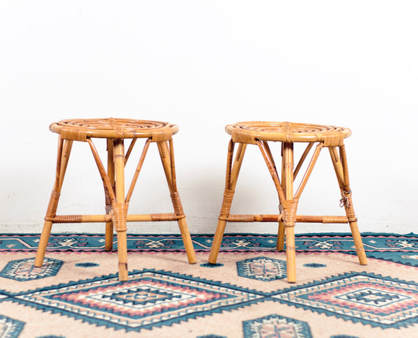 § Pair of vintage rattan stools