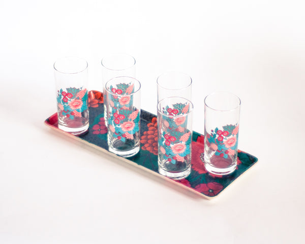 French Vintage Floral Lemonade Glasses with Tray