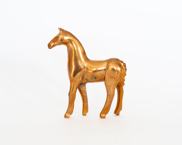 Stylized Brass Horse Sculpture