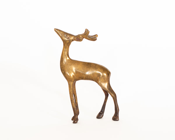 §Pair of vintage brass deer figurines