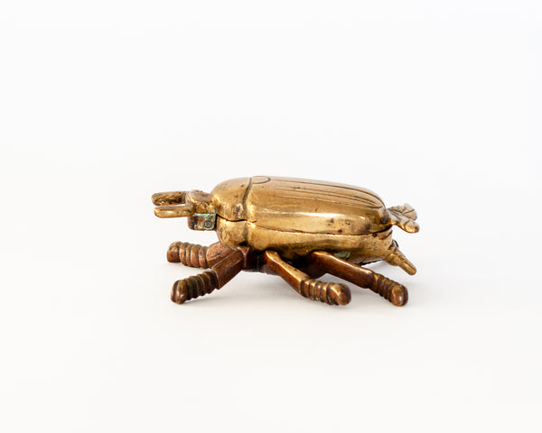 Vintage Brass Beetle Trinket Box