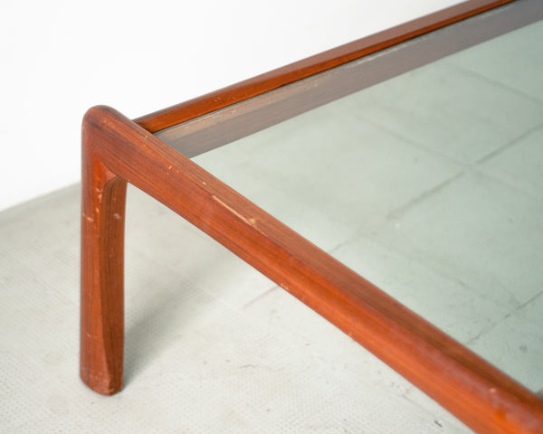 Scandinavian Teak & Glass Coffee Table - Very Large
