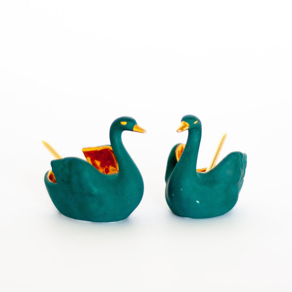 Limoges Porcelain Salt and Pepper Swans