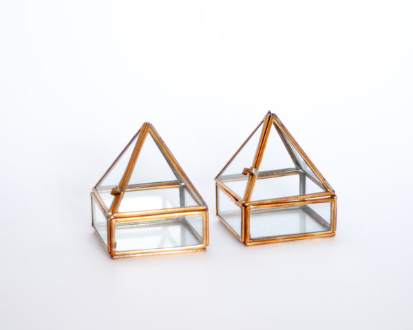 Small Brass Pyramid Jewelry Box
