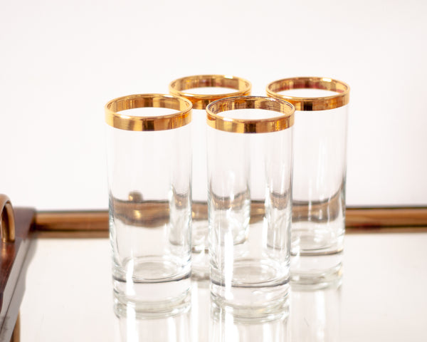 Vintage Gold Rimmed Tumblers - Set of 4