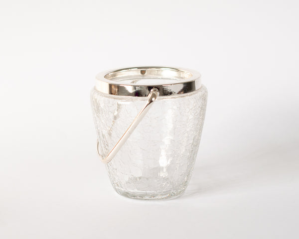 §Silver Crackle Glass Ice Bucket