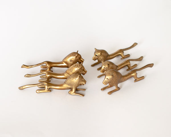 Brass Lion Knife Rests - Set of 6