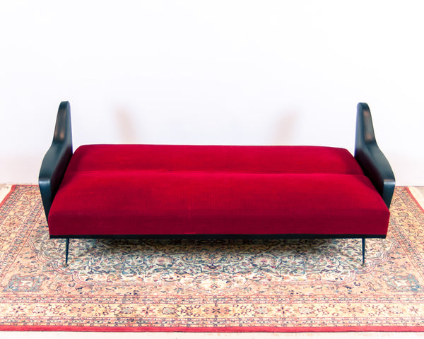 Retro 70's Red and Black Convertible Sofa