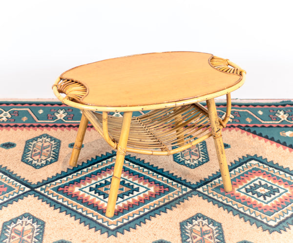 Vintage 1960's Janine Abraham Rattan Coffee Table