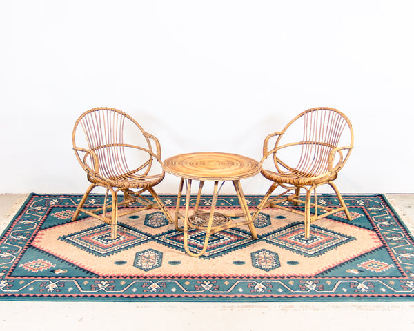 § Vintage Rattan Chairs and Table Set