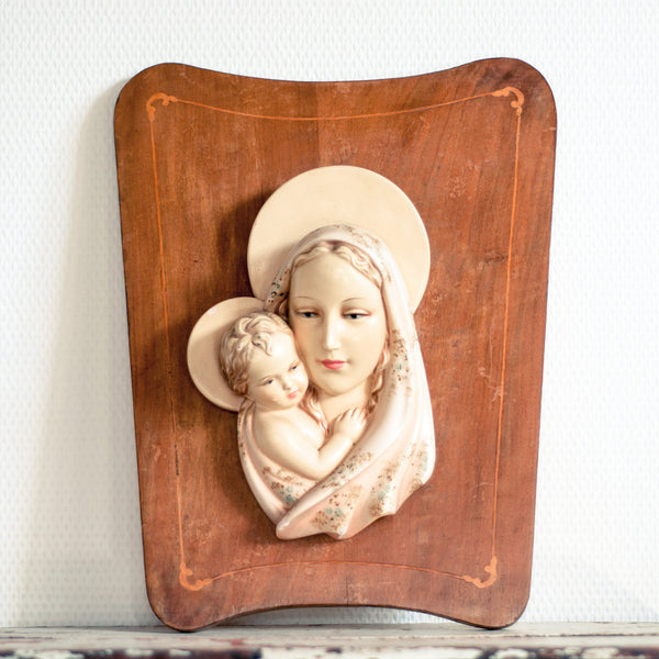 Mid-century Bas Relief Madonna with Child Wood Plaque