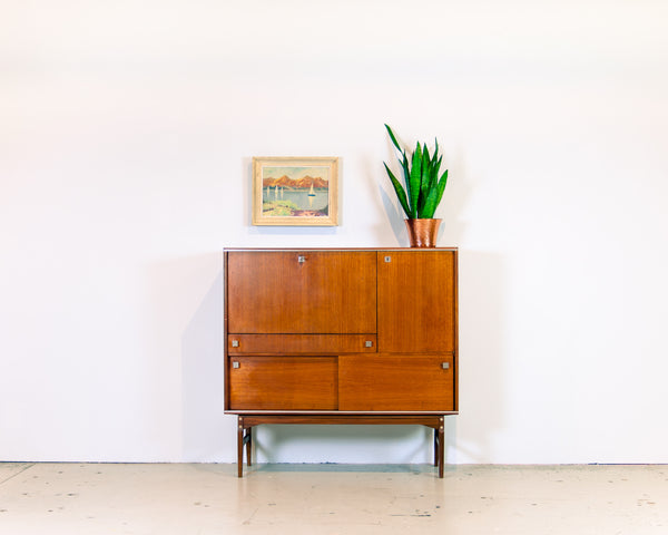 Modernist Teak Bar or Desk Cabinet