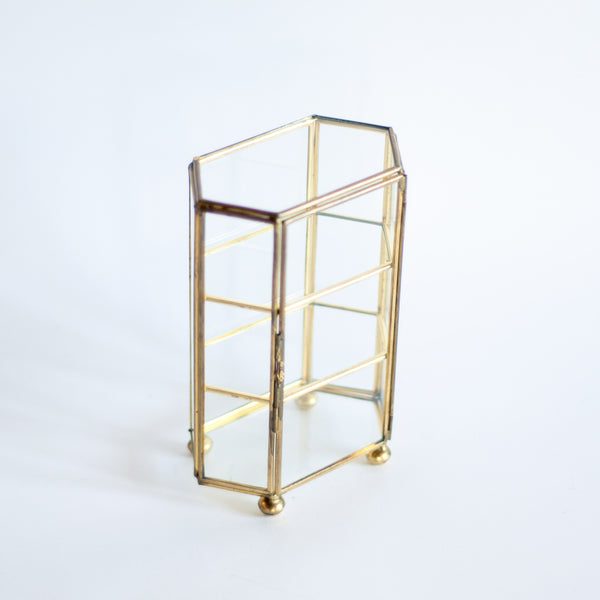 § Miniature Brass Jewelry / Trinket / Curio Display Case