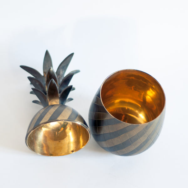 § Two toned Brass Pineapple Ice Bucket