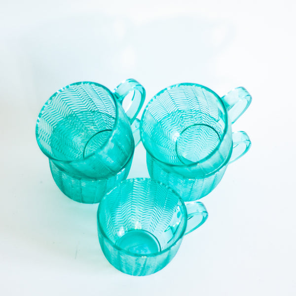 § Vintage Arcoroc Cups Turquoise Blue Herringbone Pattern - Set of 5