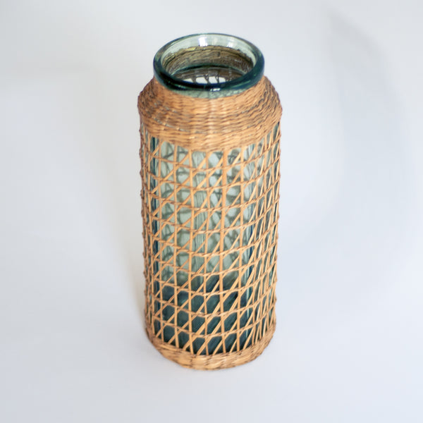 Bohemian woven straw/wicker geometric vase