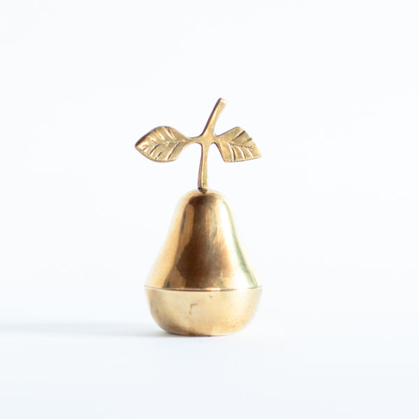 § Midcentury Brass Pear Trinket Box