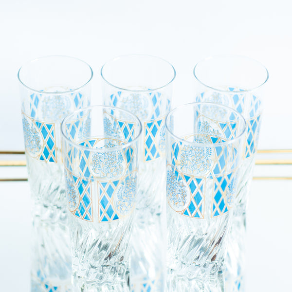 § Set of 5 Midcentury Blue and Gold Tumblers