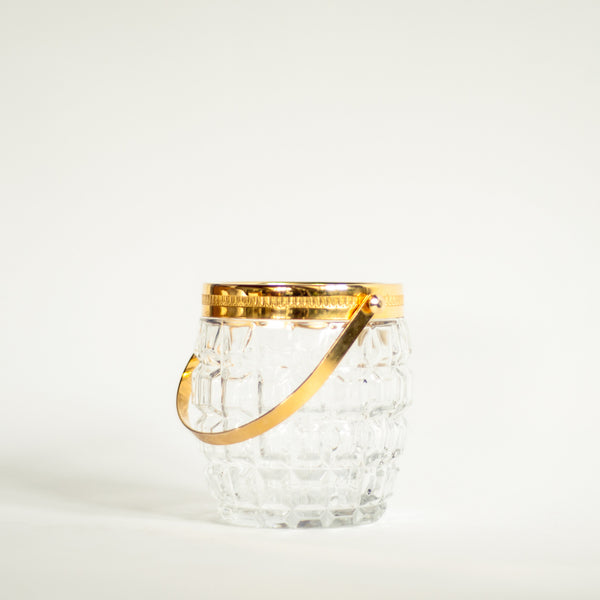 Oddhaus Vintage Luxembourg 70s Crystal and Brass Gold Ice Bucket