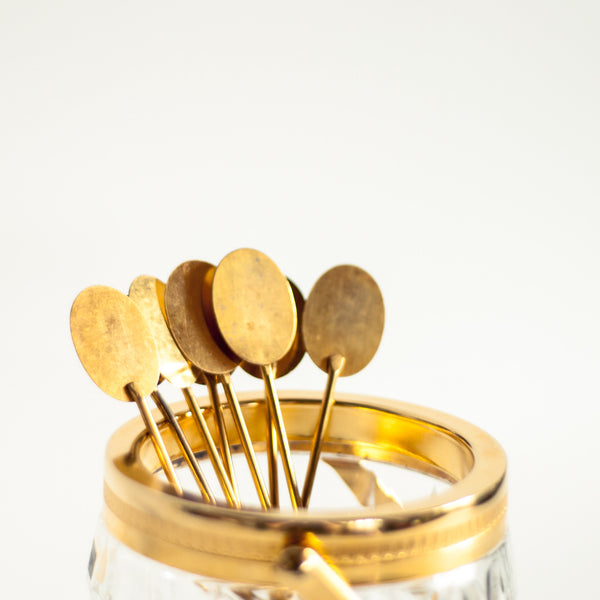 Oddhaus Vintage Decoration Luxembourg Midcentury Brass Cocktail Stirrers